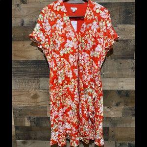 J Jill Medium Tall Ruffle Floral Wrap Dress